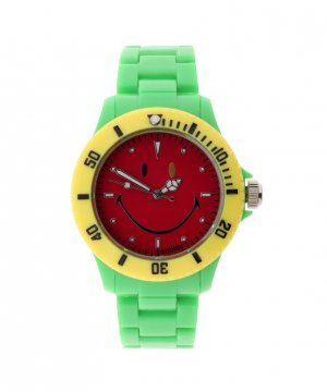 "Wave Gear Smiley ""Happy Time"" Men's WGS-CBGV01 Color Block Green and Red Analogue Watch"