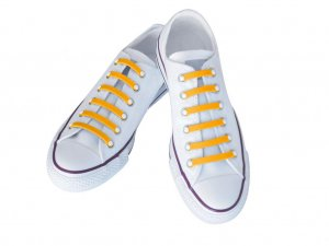 Silly Laces Silicone Slip On Shoelaces Yellow Adult (Narrow) Shoe Size