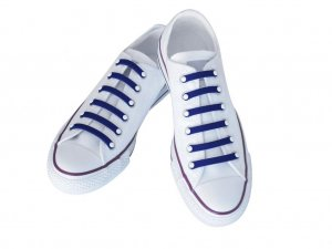 Silly Laces Silicone Slip On Shoelaces Blue Kids (Narrow) Shoe Size