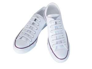 Silly Laces Silicone Slip On Shoelaces White Kids (Narrow) Shoe Size