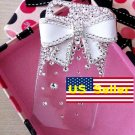 3D Bling Iced Out Crystal Iphone 4 4s 4gs Protector Back Cover Case White Bow at&t Verizon 4 4g