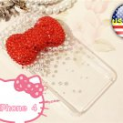Iced Out Hello Kitty Red big Bow Style Bling Crystal Verizon Sprint Iphone 4 4S Clear Back Case