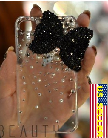 Iced Hello Kitty Black Bow Style Bling Crystal Pearl Verizon Sprint Iphone 4S 4g 4gs Clear Back Case