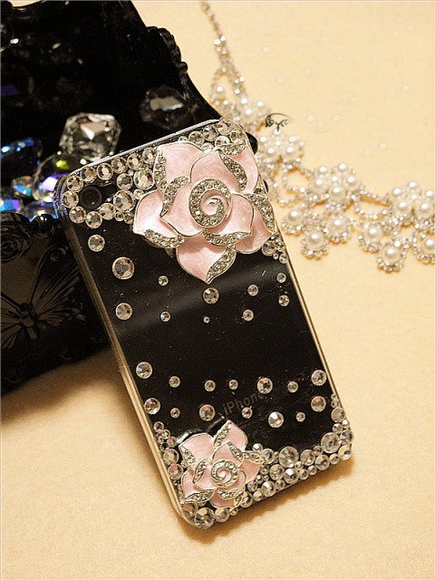 Verizon Sprint Iphone 4 4S Clear Back Case Iced Out Bling Bling 3D Pink Rose