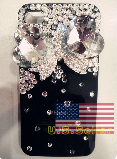 Iced Out Hello Kitty Bow Heart Style Bling Bling Crystal Apple Iphone 4 4g Black Back Case