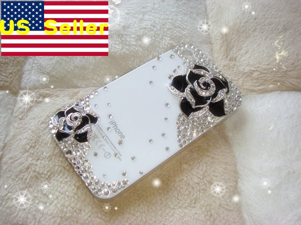 Verizon Sprint Iphone 4 4S Clear Back Case Iced Out Bling Bling 3D Black Rose Kitty