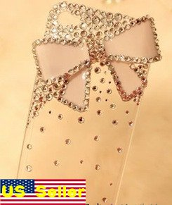 Verizon Sprint Iphone 4 4S Clear Back Case With Hello Kitty Pink Bow Style Bling Iced Out Crystal