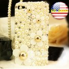 Verizon Sprint Iphone 4 4S  Pearl Back Case Iced Out Bling Bling 3D white flower