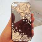 New 3D Iphone 4s 4 Bling Clear Crystal White Rose Flower case cover Verizon 4