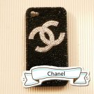 New 3D Iphone 4s 4 Bling Crystal CoCo Logo Black back case cover Verizon 4