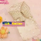 iphone 4s Bling Crystal White Pearl Butterfly Bow Clear Back Case Verizon 4 At&t