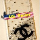 Iphone 4s 4 Bling Coco Black logo Clear Crystal White Pearl case cover Verizon4