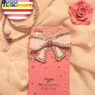 New 3D Iphone 4s 4 Bling Clear Crystal White Pearl pink Bow case cover Verizon4
