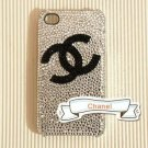 New 3D Iphone 4s 4 Bling Crystal Black CoCo Logo White Hard back case Verizon 4