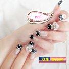Japanese 3D Nail Black French White Polka dots Acrylic Fake Nail Crystal Bow New