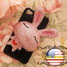 3D Iphone 4s 4g 4 Bling Crystal big Pink Rabbit Black Hard Case Verizon4 at&t