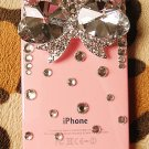 3D bling bling Crystal Diamond Iphone 4 4S Big Bow pink back case verizon 4