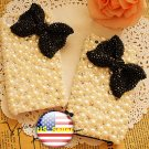 3D Iphone 4s 4g 4 Bling Crystal big Bow White Pearl  Hard Case Verizon4 at&t