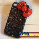 3D Iphone 4s 4g 4 Bling Crystal Big Red Bow Black Hard Case Verizon4 at&t