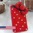 3D Iphone 4s 4g 4 Bling Crystal big Red Bow Hard Case Verizon4