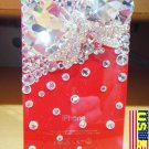 Iced Out Hello Kitty Bow Heart Style Bling Bling Crystal Apple Iphone 4 4g Red Back Case