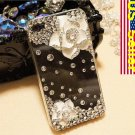Verizon Sprint Iphone 4 4S Clear Back Case Iced Out Bling Bling 3D White Rose