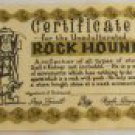 """Parchment Comic Card """"Certificate for Rock Hound"""""""