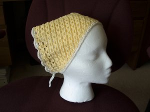 Cotton crocheted head scarf