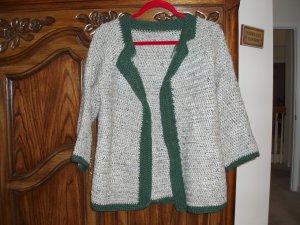 wool sweater jacket gray crocheted