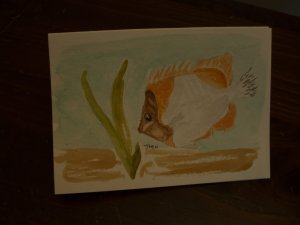 Hand painted blank greeting card fish watercolor