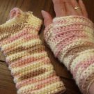 Handmade wristers crocheted pink and white fingerless mittens