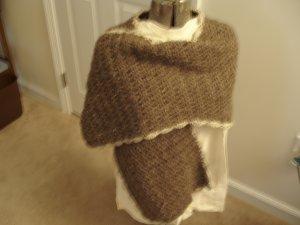 Shawl cape mocha crocheted long