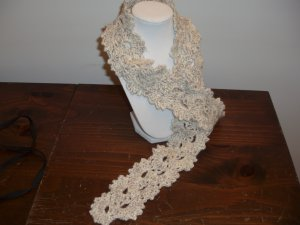Scarf Knit Queen Anne's Lace wool oatmeal