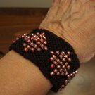 Knit Bracelet Black and Coral