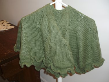 Green knit shawl
