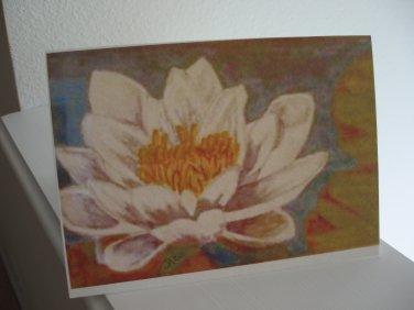 Handmade blank card with original watercolor print waterlily