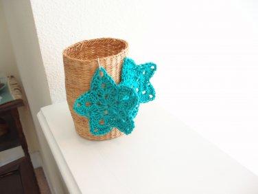 Blue star earrings crocheted with silver ear wire