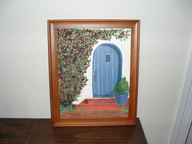Mediterranean door oil painting original.
