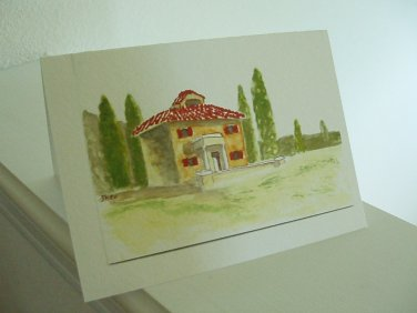 Greeting card set Tuscany print from original watercolor
