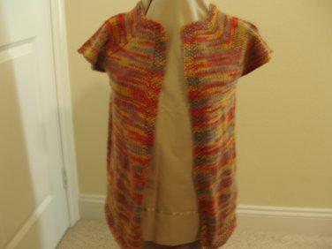 Hand knit vest orange, green, red, gold
