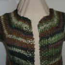 Handmadeknit vest deep woods green cap sleeve