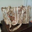 Large tote/purse brown, ecru  lined