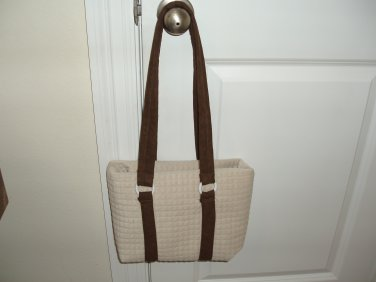 Quilted convertible beige purse, tote