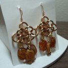 Byzantine style chain maille earrings amber glass beads