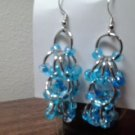 Sterling silver ear wire, chain maille earrings with czech glass beads