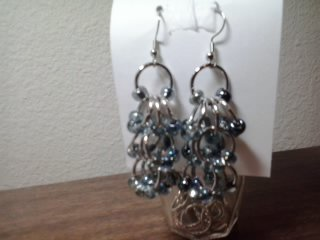 Smokey black,grey earrings, silver ear wire, chandelier