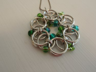 Silver and blue pendant, chain maille design, czech beads