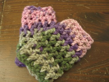 Cozy warm green and pink fingerless gloves