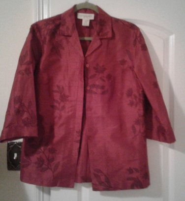 Vintage Red 100% silk blouse with flowers