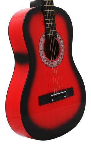 Red Acoustic Guitar + Extra Strings + Pick